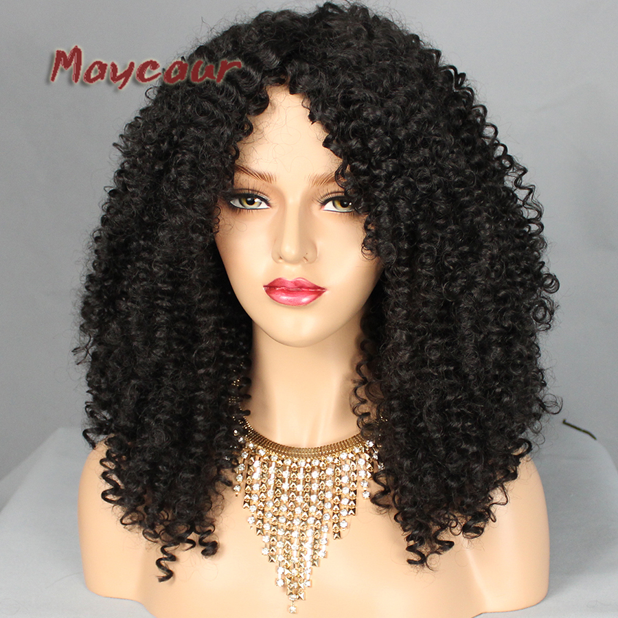 Afro Curly Wigs Heat Resistant Fiber Hair Synthetic Wigs for Women Black Synthetic Hair Wigs Free Bangs