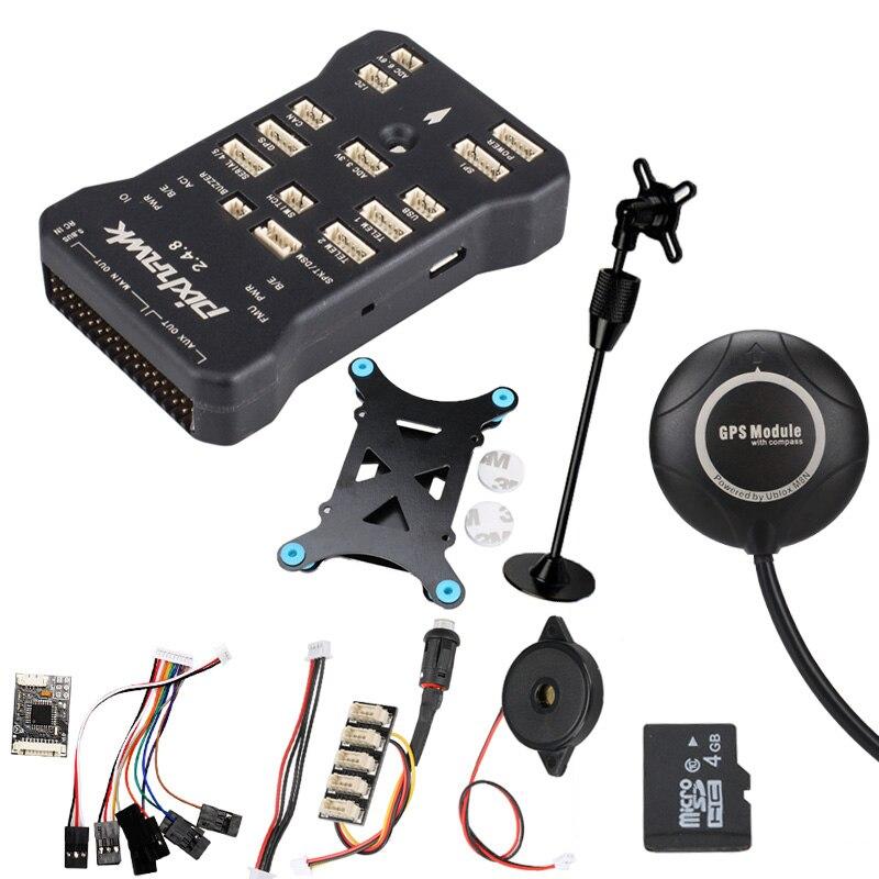 Pixhawk PX4 PIX 2.4.8 32 poco controlador de vuelo w/SD 4G interruptor de seguridad timbre M8NGPS + PPM + i2C + gps + soporte + amortiguador + lector de tarjetas
