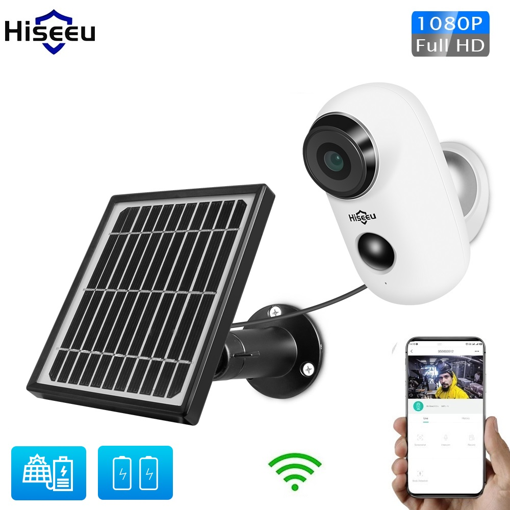 1080P Wifi Battery IP Camera Outdoor Solar Panel Wireless Rechargeable Camera Waterproof PIR Alarm Hiseeu