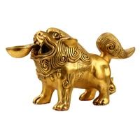 1PCS Feng Shui brass lion ornament lion Beijing lion copper lion home furnishings decorative arts and crafts LU608353