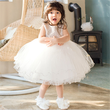Amazing Cute 2016 Hot Ball white Flower Girls Dresses For Wedding Lace Girl Birthday Party Dress Flowers Tulle Pageant Dress