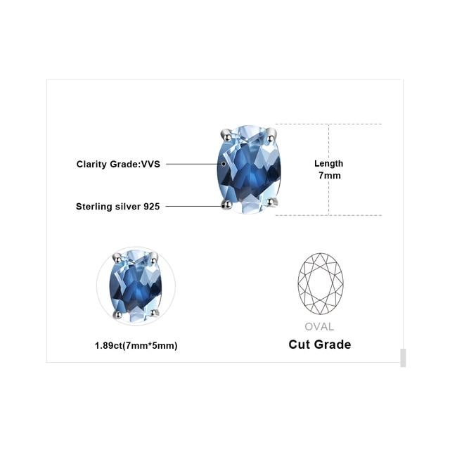 JewelryPalace Ovale 1.9ct Naturale Cielo Blu Topazio Birthstone Orecchini con perno Solido 925 Sterling Silver Gioielleria Raffinata Per Le Donne