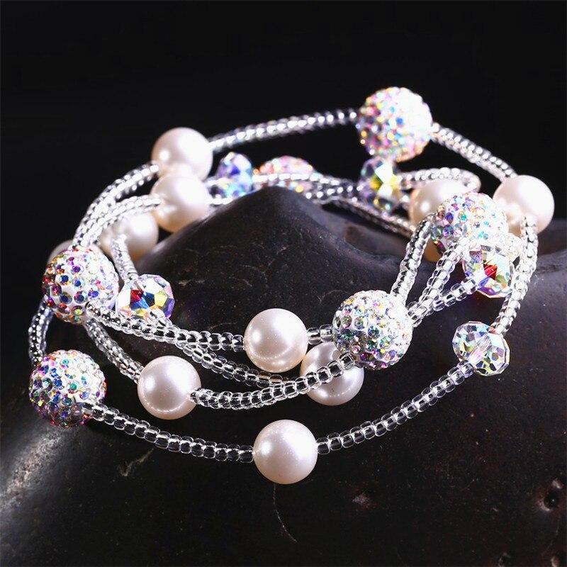 Элегантные Многослойные хрустальные браслеты с 4 кругами, женские шаровые браслеты из перламутровых бусин Романтические свадебные украшения, аксессуары