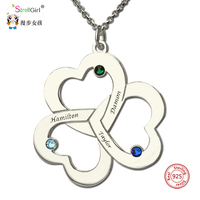 StrollGirl Authentic Sterling Silver 925 Triple heart Names Necklace Personalized Custom Pendant Necklace For Birthday Gift New