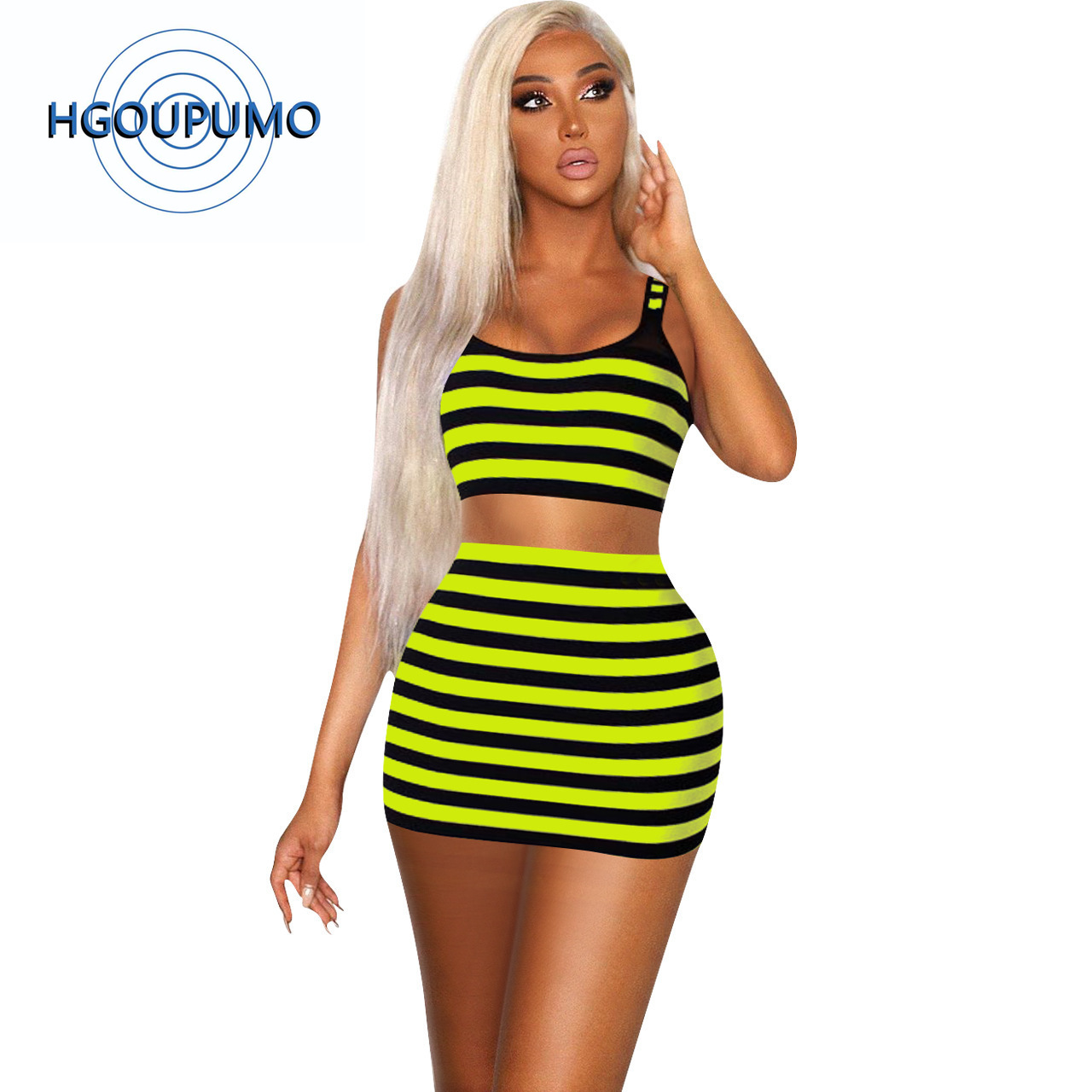 Neon Green Striped Sexy Two Piece Set Women O Neck Sleeveless Tank Crop Top And Bodycon Mini Skirts Summer 2 Piece Club Outfits