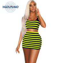 Neon Green Striped Sexy Two Piece Set Women O Neck Sleeveless Tank Crop Top And Bodycon Mini Skirts Summer 2 Club Outfits