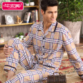 Spring men pajama sets 100% cotton full sleeve lounge pyjamas male cotton sleepwear casual plaid homewear mens pajamas A5007