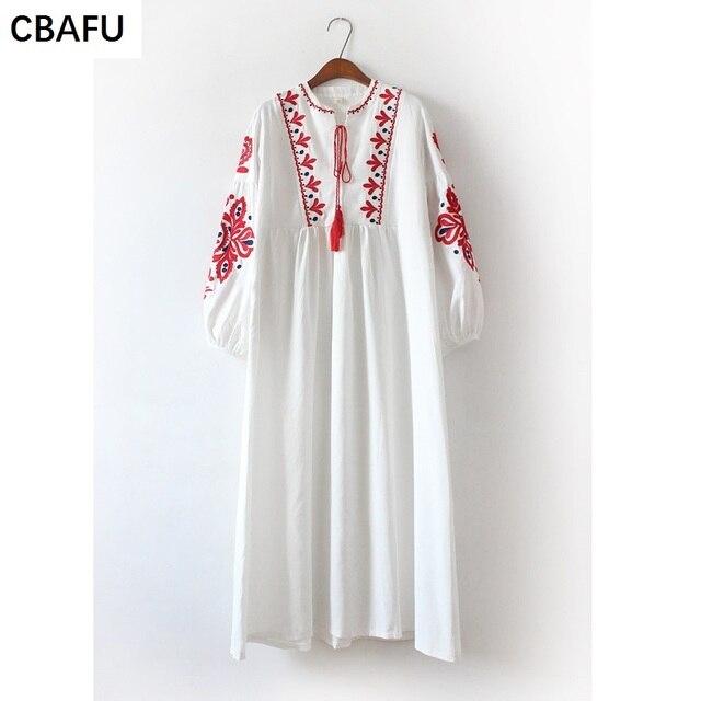 40b12e7d76 Cbafu Bohemia Vintage bordado mexicano vestidos mujeres largo linterna  manga borla larga Boho hippie chic X099