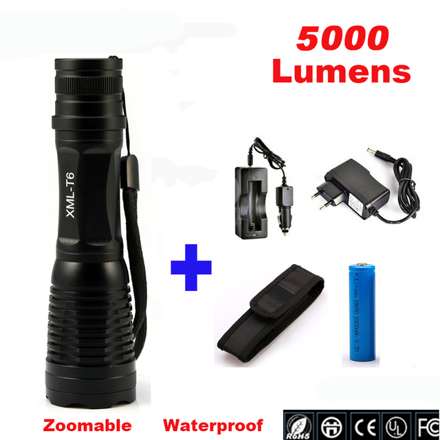 LED CREE XML T6 5000LM Flashlight Zoomable Lamp Tactical Flashlight Torch Outdoor Lighting Camping Light For 18650 or 3*AAA