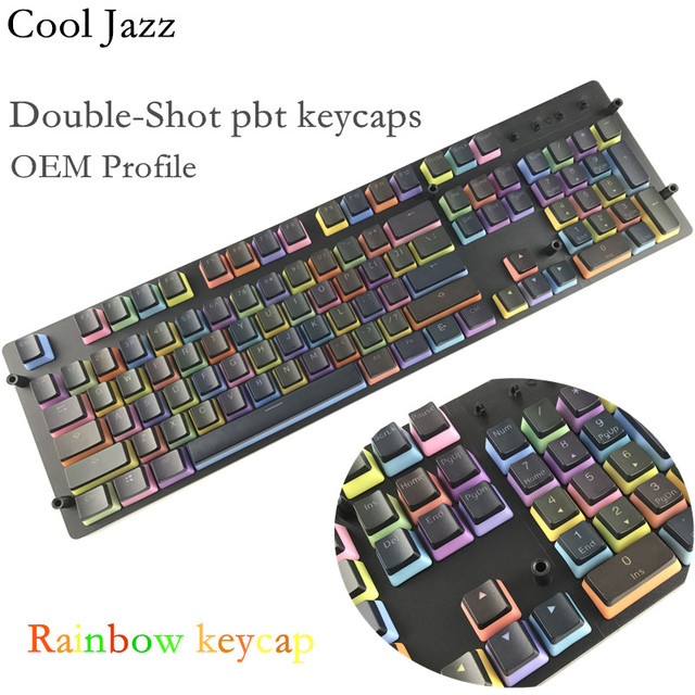 Cool Jazz Backlit Double shot Rainbow Gradient PBT pudding Keycap OEM profile keycaps for mechanical keyboard MX Switches