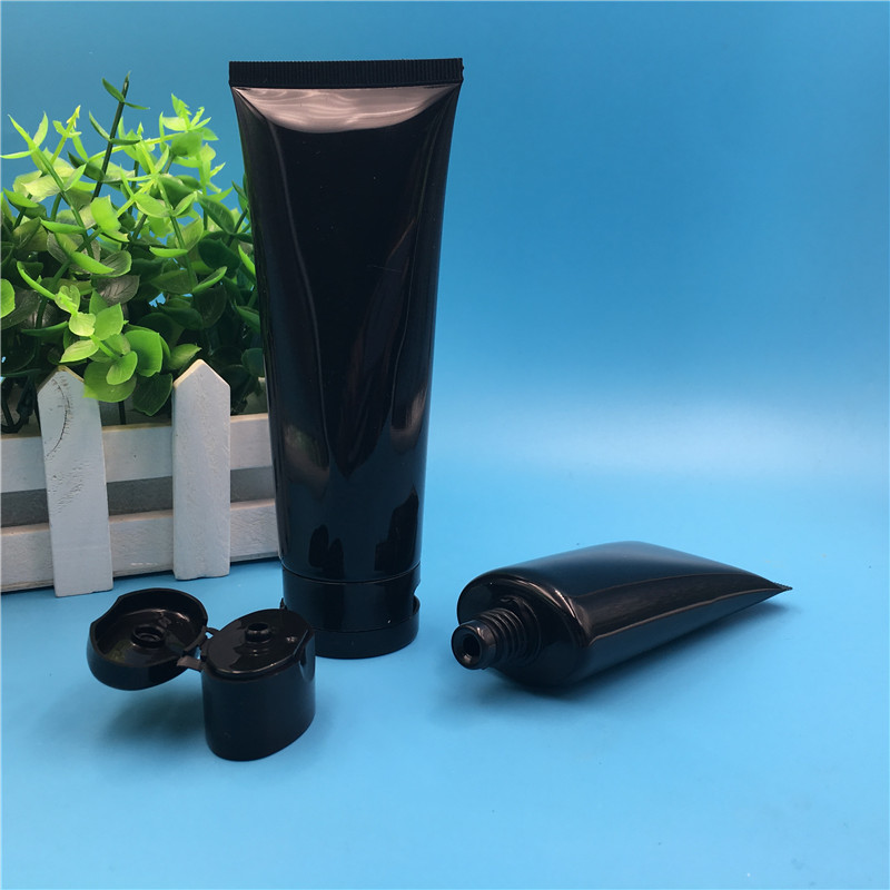 Free Shipping 60 ml 100 ml  Empty Black Plastic Tube Flip Cap Bottles Male Man Cosmetic Containers packaging 50 pcs-in Refillable Bottles from Beauty & Health    1