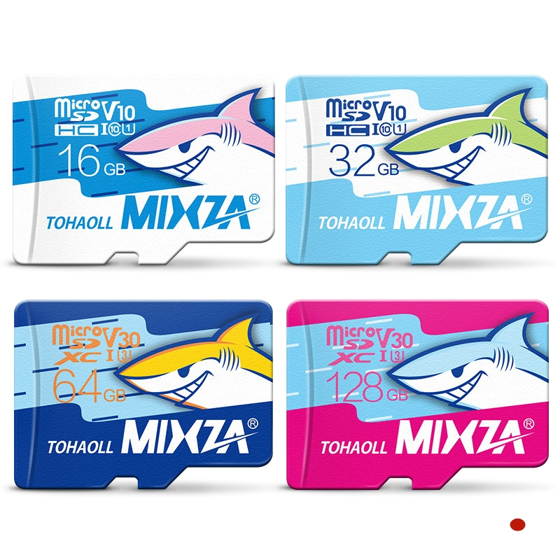 MIXZA Shark Micro SD Card 256GB U3 90MB/S 32GB 16GB/64GB/128GB Class10 UHS-1 Memory Card Flash Memory Microsd for Smartphone