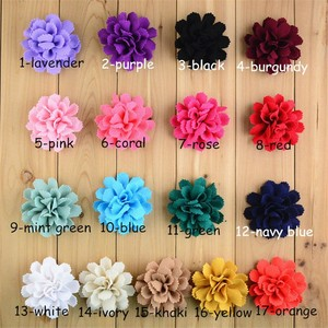 Image 2 - 200pcs/lot 17 Color U Pick 3 Inch Handmade Ballerina Chiffon Burlap Flowers Garment Hair Accessories Wholesale Supply FH59