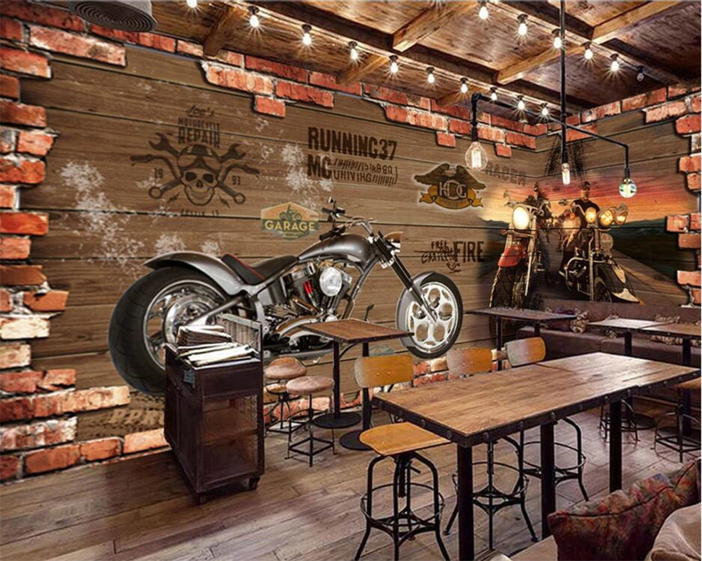 beibehang Custom 3D wallpaper retro motorcycle nostalgic brick wall background decorative wall bar restaurant decoration mural