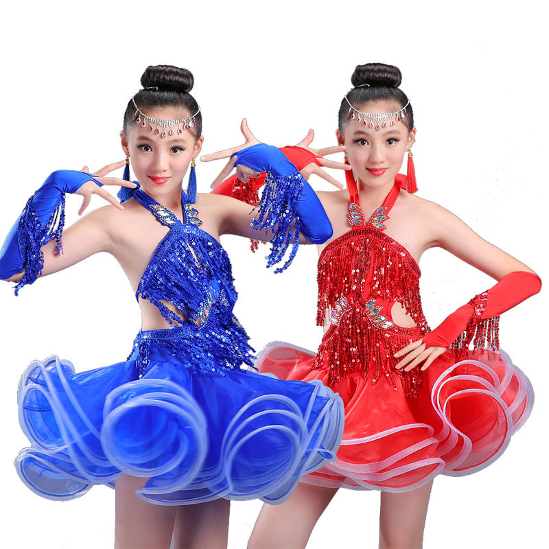 Girls Latin dance costumes new style childrens exercise clothes sequins tassels performance competition clothing