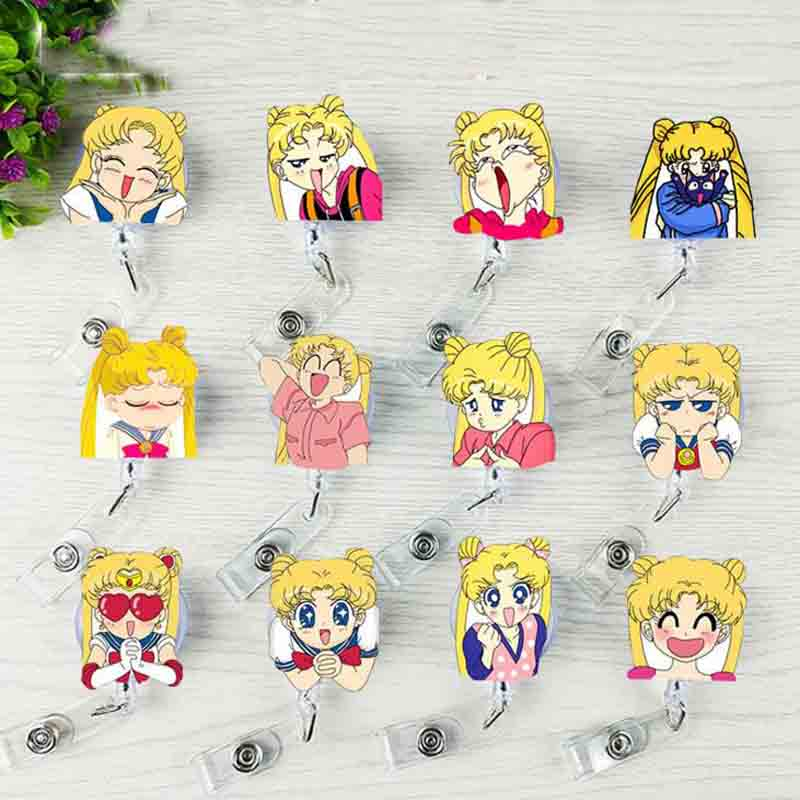 1 Pcs Cartoon Anime Sailor Moon Girls Retractable Badge Reel Student Nurse Exhibiton Credit ID Name Card Badge Holder Stationery