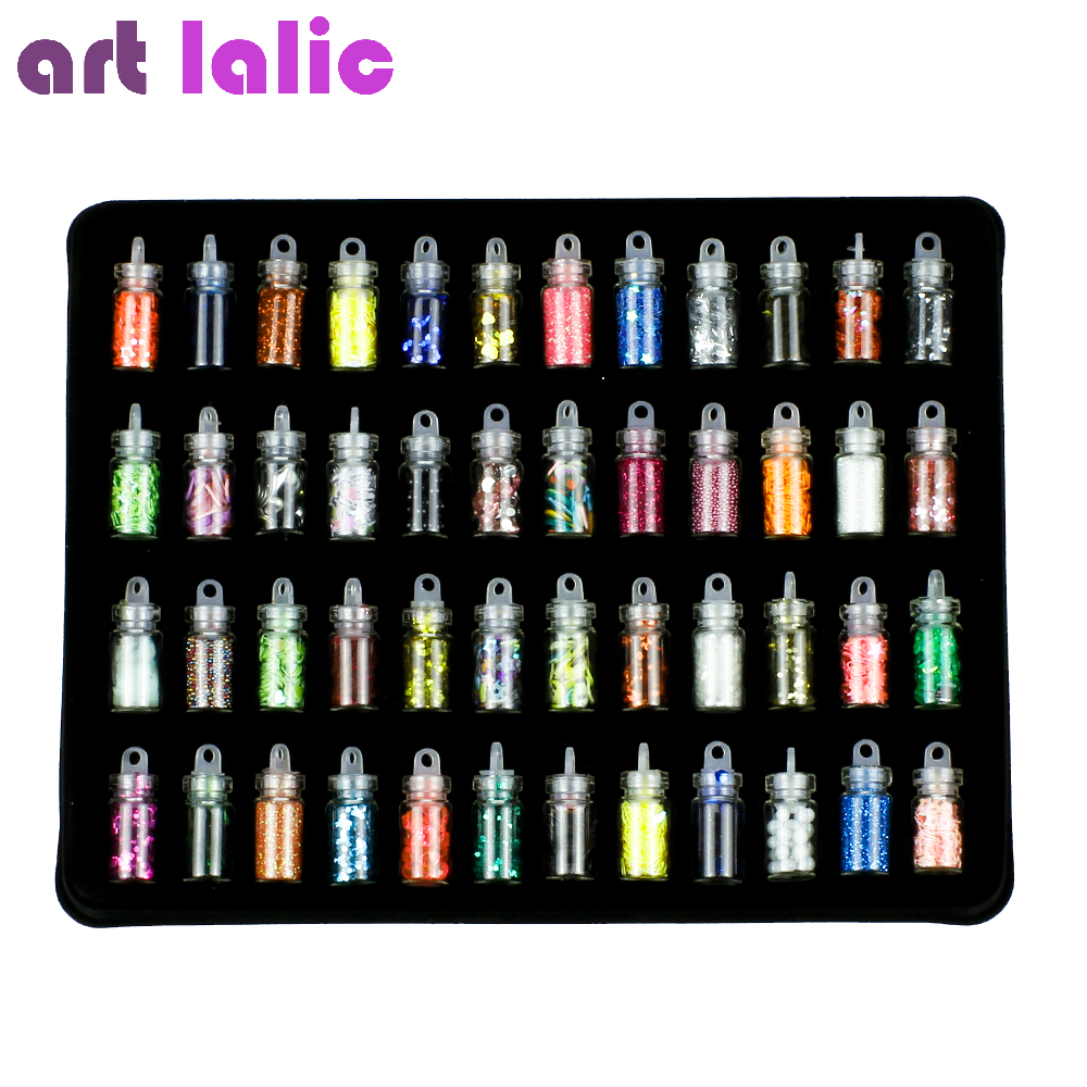 Artlalic 48 Bottles Nail Art Rhinestones Beads Sequins Glitter Tips Decoration Tool Gel Nail Stickers Mixed Design Case Set 120pcs crystal cone mixed size nail glitter rhinestones wheel 3d nail art decoration tips