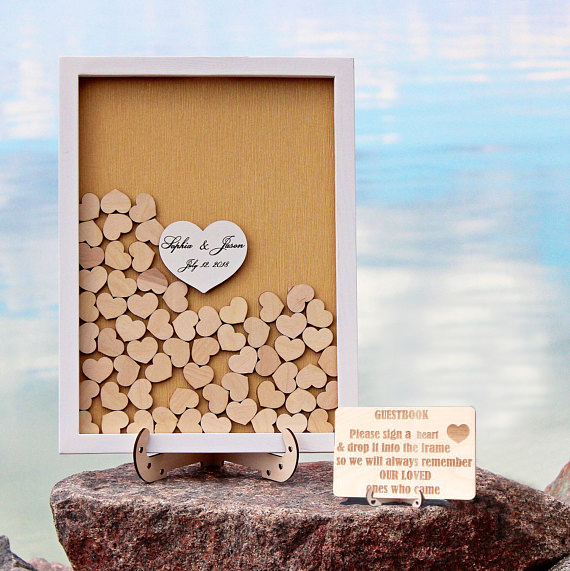 Custom White Frame Wedding Guest Book Alternative Drop Top Guestbook Wood Heart Guest book with wedding sign