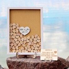 Пользовательские белая рамка Свадебная Гостевая книга Альтернатива падения Топ Гостевая книга Дерево Сердце Гостевая книга с свадьба знак