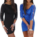 Imperio Glamour mujeres Bodycon Mini vestido Diamante encaje detalle túnica Clubwear