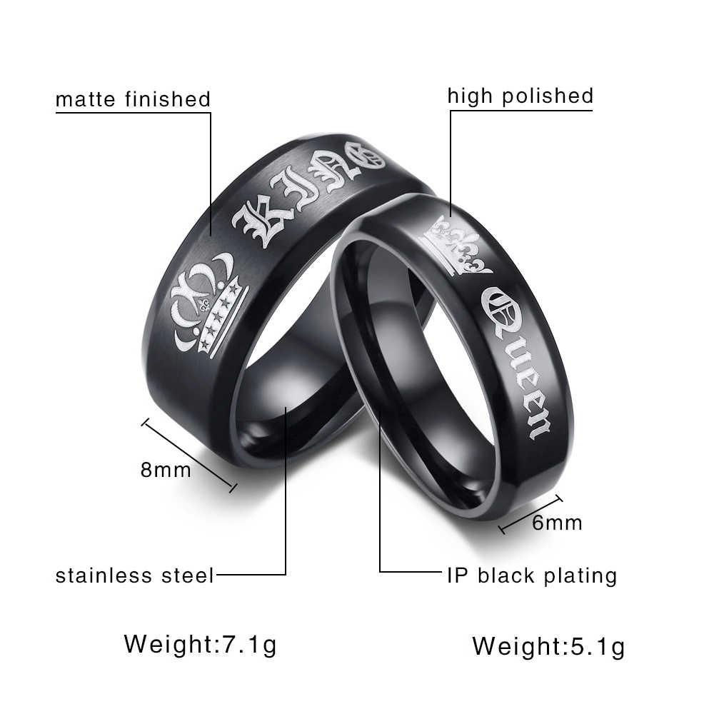 TTVOVO ее король его королева пара обручальное кольцо из нержавеющей стали юбилейное кольцо для помолвки для женщин мужчин кольцо на заказ