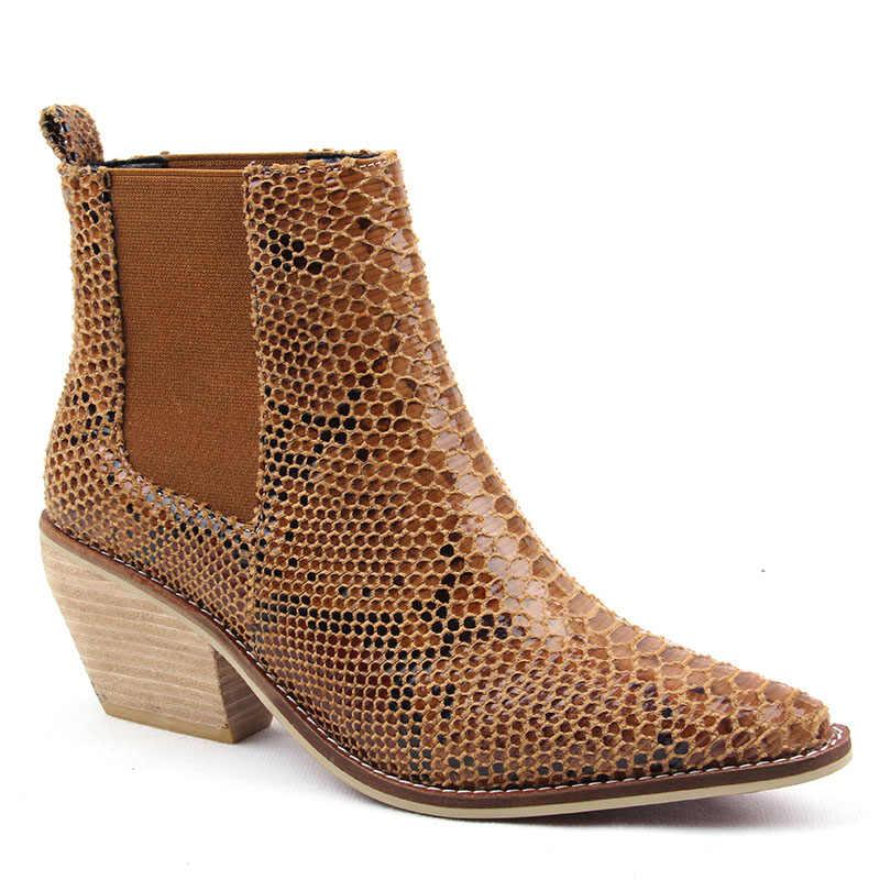 2019 Lente/Herfst Mode Cowgirl Laarzen Vrouwen Schoenen Winter Western Cowboy Enkellaarsjes Puntschoen Lederen Schoenen Vrouw booties