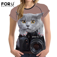 FORUDESIGNS Funny 3D Animal Black Cat Camera Printed Women T Shirt Elastic Bodybuilding Tee Shirt Famale
