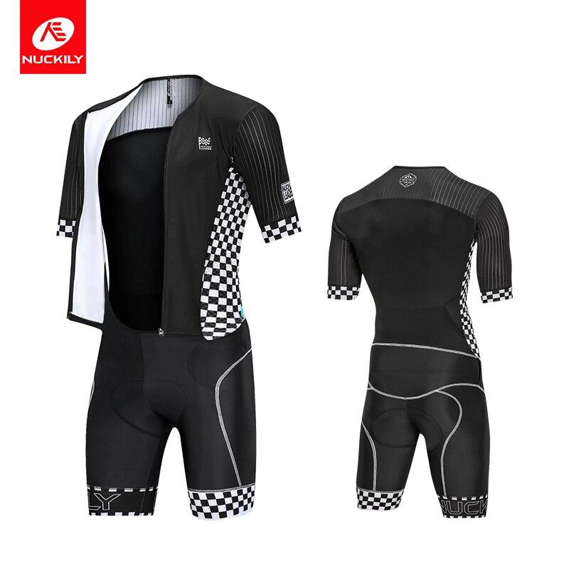 NUCKILY Men Cycling Set Summer Plaid Road Bike Sport  cycling jersey 3D Foam Pad MQ010