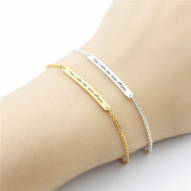 Handmade Long Bar Engraved Initial Bracelets Stainless Steel Chain Gold Silver Color Stamped Letters Pulsera S