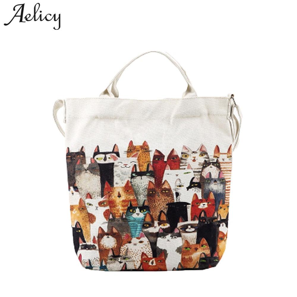 Aelicy Handbag Canvas Beach-Bags Female Tote Printing Shoulder Casual Cartoon Luxury Women