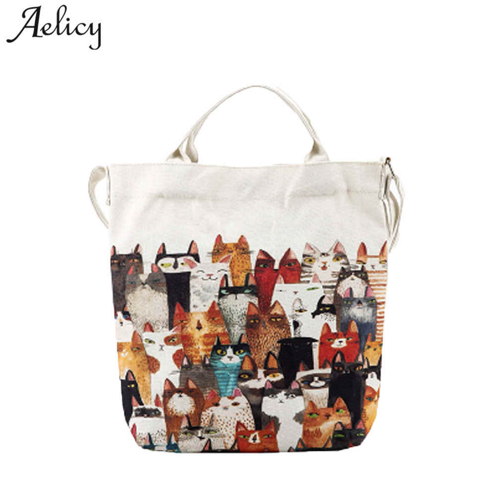 Aelicy luxury Women Handbag Canvas Cartoon Cats Printing Shoulder Beach Bags Casual Female Tote Shopping bag female casual