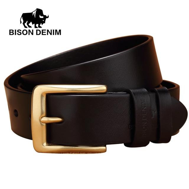 BISON DENIM New Luxury High quality Designer Belts Black Coffee genuine leather Belts for men Waist belt fast ship N71010-2C