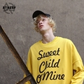 ATHIEF Loose casual Yellow Pullover Sweatshirts Printed Rock and Roll quotes oversize hoodie Free Shipping