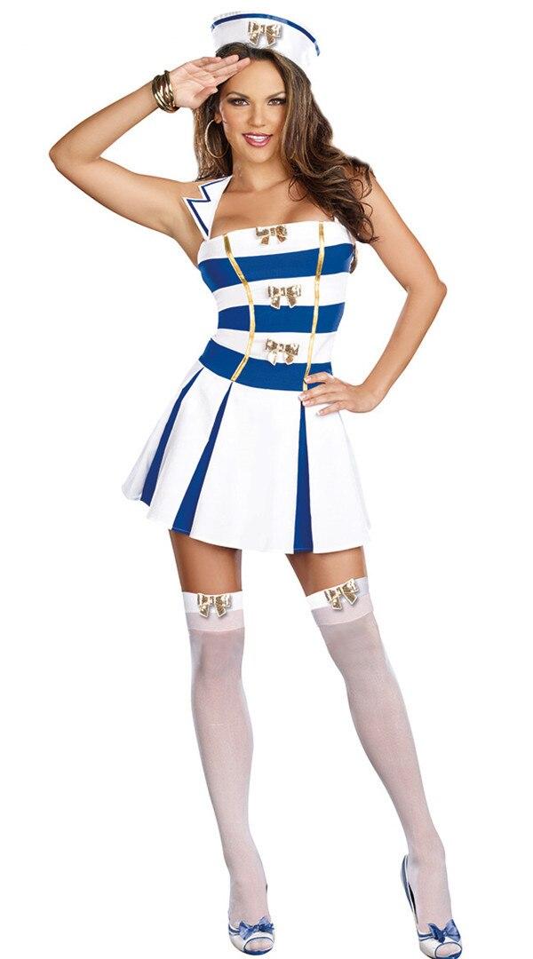 Women's Pretty Soldier White Blue Sailor Uniform Navy Fancy Dress with Hat