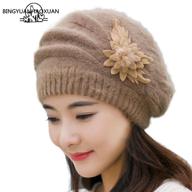 BINGYUANHAOXUAN 2017 Beret Top Quality Winter Warm Hat For Women Rabbit Fur Berets Fashion Flower Ladies Hats Boina Feminina