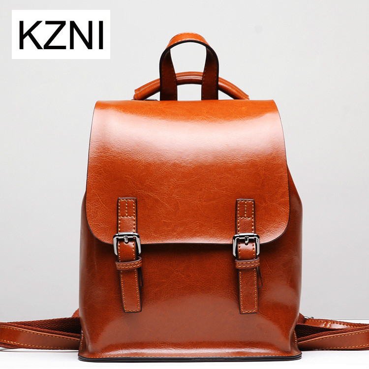KZNI Genuine Leather Purse Women Bag Female Backpack Sac a Main Femme De Marque Bolsas Feminina Z031922 kzni genuine leather purse crossbody shoulder women bag clutch female handbags sac a main femme de marque z031801