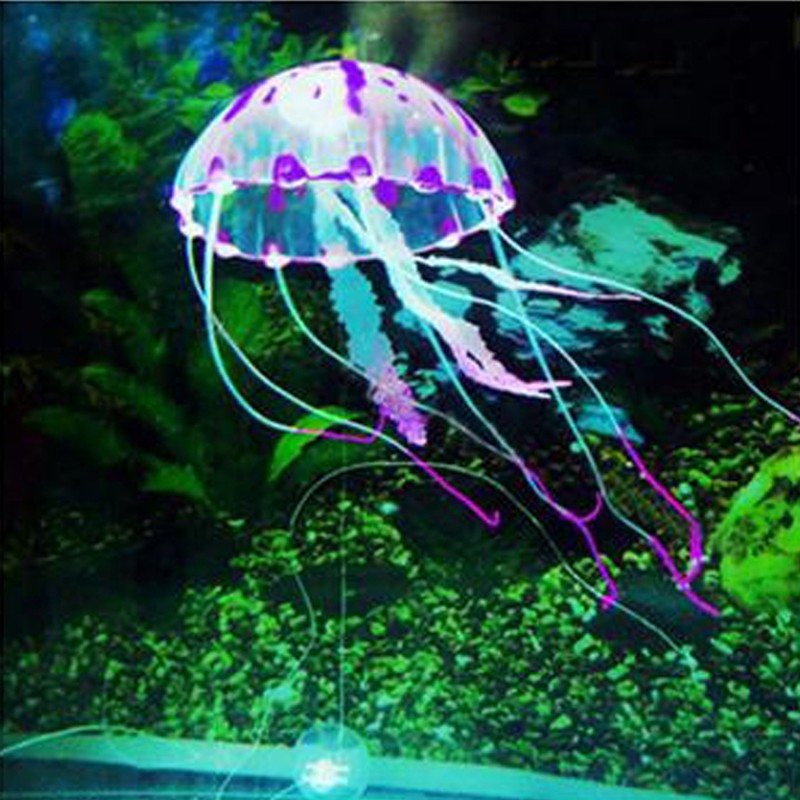 빛나는 효과 인공 해파리 물고기 탱크 수족관 장식 장식품