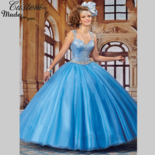 Girls Sweet 16 Dresses Blue Ball Gown Sweetheart with Straps Online Parties Luxury Quinceanera Dresses 2016 Sparkly Crystals