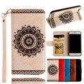 Para iphone 7 7 plus case luxo couro & tpu aleta estande carteira mandala flor coque capa capinhas para iphone 7 7 além de