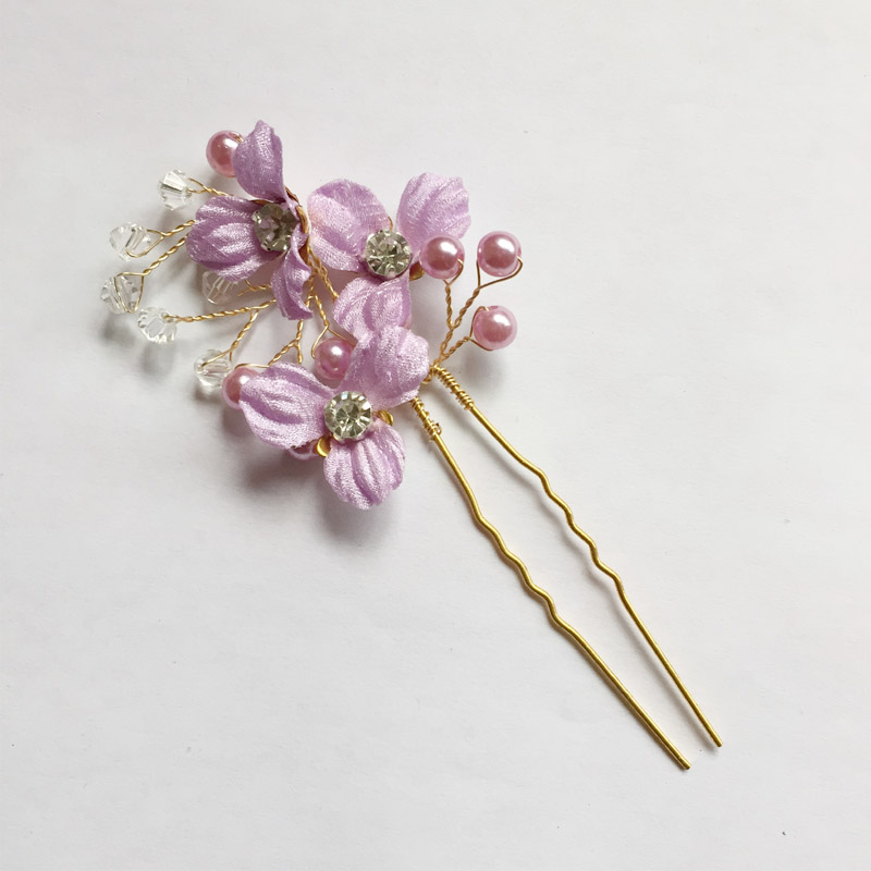 Lavender Flower Hair Wedding Style: Lavender Purple Flower Pearl Wedding Hair Vine Handmade