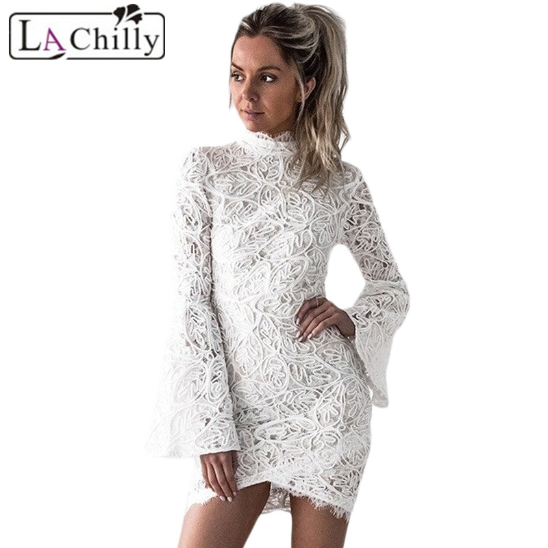 La Chilly Robe Femme Hiver 2017 Autumn Winter Clothes Women White Crochet Lace Shell Bell Sleeve Turtleneck Short Dress LC220159