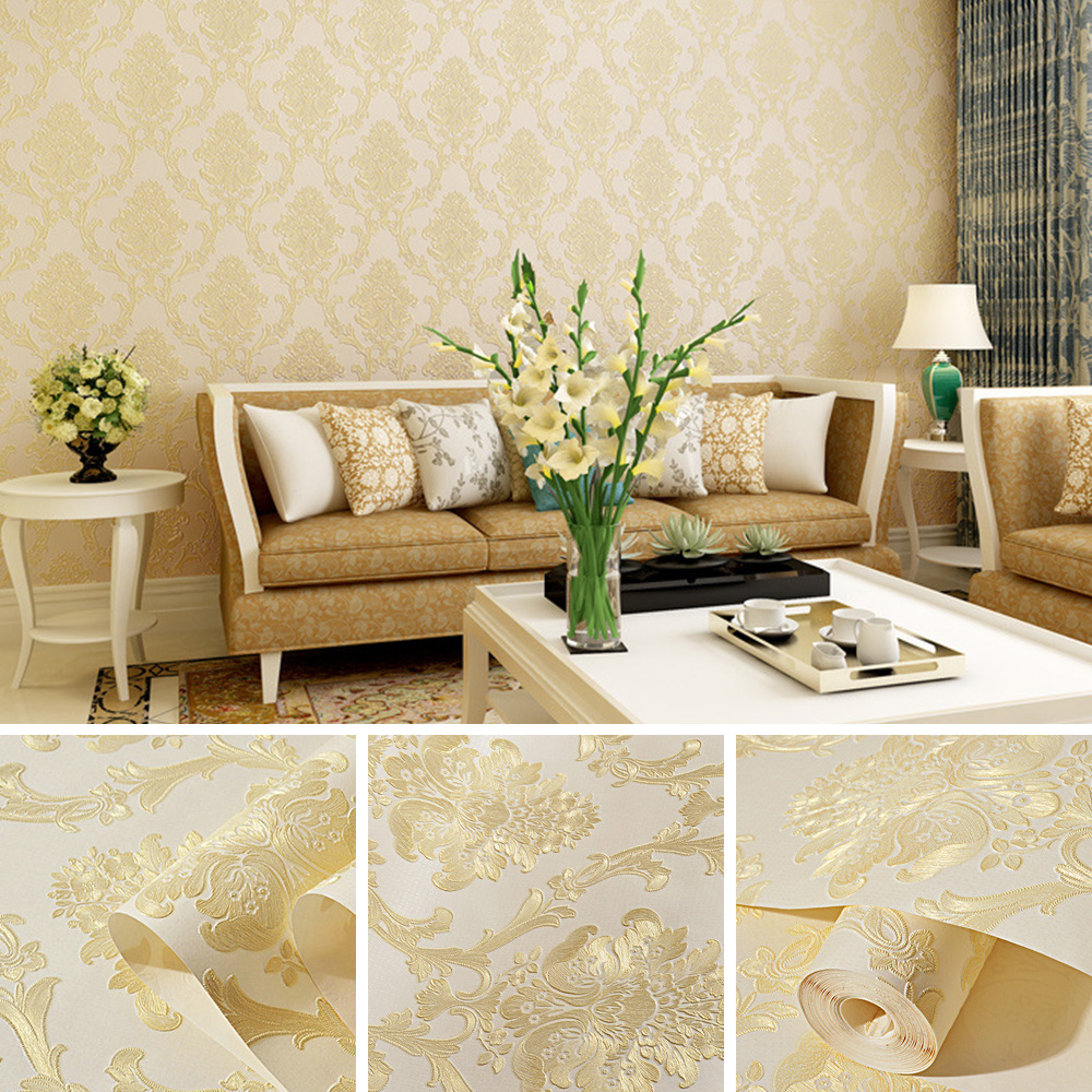 Non woven Wallpaper Luxury Damask 3D Stereoscopic Relief Damascus Bedroom Living Room Wall Paper Home Decor Paper European Style