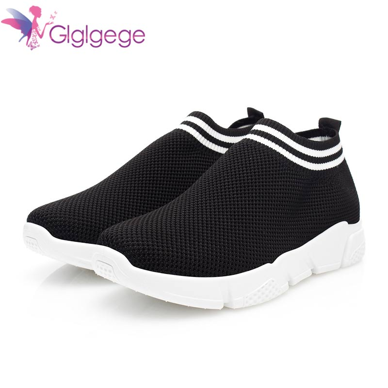 Glglgege Brand Shoes Women Casual Shoes  Sneakers Flats Mesh Slip On Loafers Breathable Big Size Spring Summer Autumn Shoes(China)