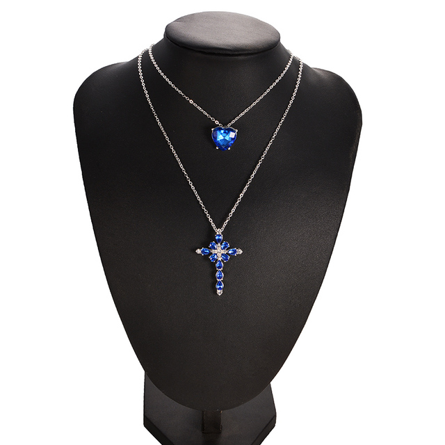 Multilayer Blue Crystal Heart Cross Pendant Necklace for Women Fashion Rhinestone Ocean Jewelry Choker Statement Valentine's Day 4