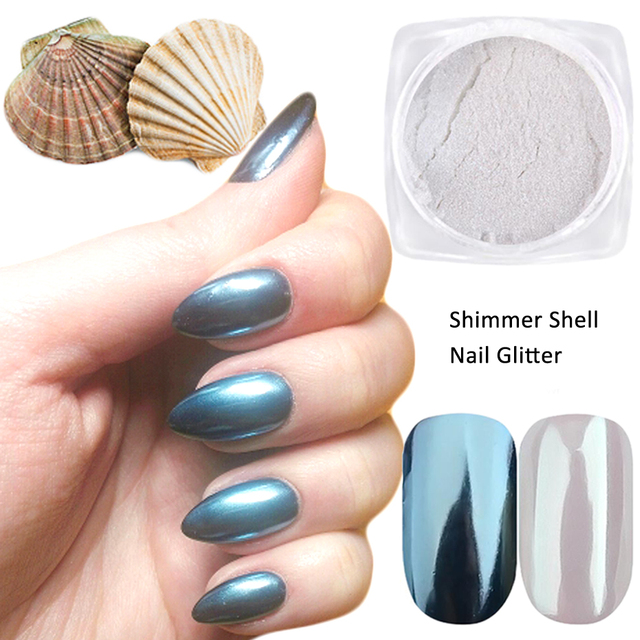 1box 0.5g Mirror Nail Glitter Powder Blue Shining Shell Gradient Glimmer Pigment Dust Chrome Nail Art Manicure Decorations TRB01