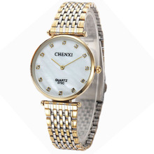 De luxe CHENXI Femmes Casual Montre De Mode Tendance Ultra-Mince Strass Lovers Quartz-montres Glod Dame Homme Horloge Couple Cadeau Heure