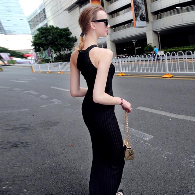 New Women Long Knitting Dress Spring Sexy Slim Bodycon Dresses Elastic Skinny Split Dress Brief Halter Black Dresses Vestidos 2