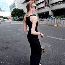 Women Long knitting Dress 2016 Spring Sexy Slim Bodycon Dresses Elastic Skinny Split Dress Brief Halter Black Dresses vestidos