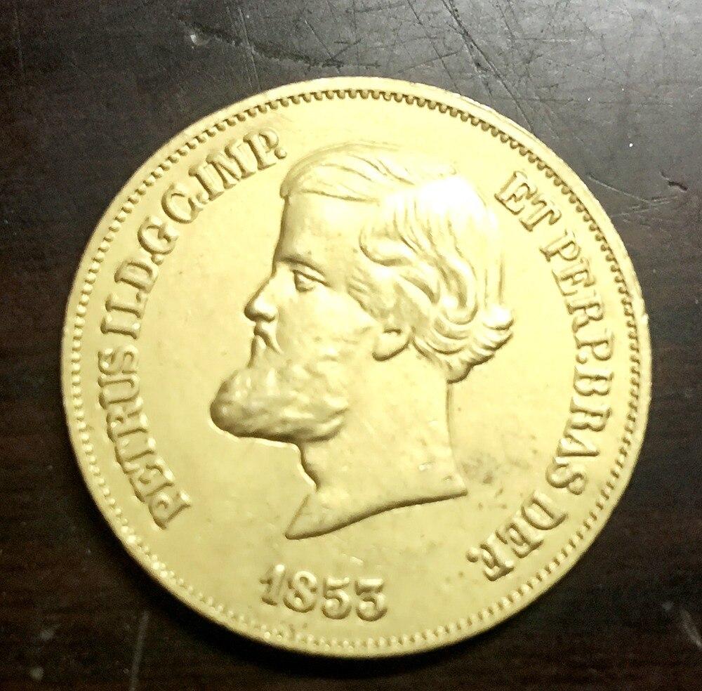1853 Бразилия 4000 Reis КОПИЯ 22 К позолоченный Копировать монет
