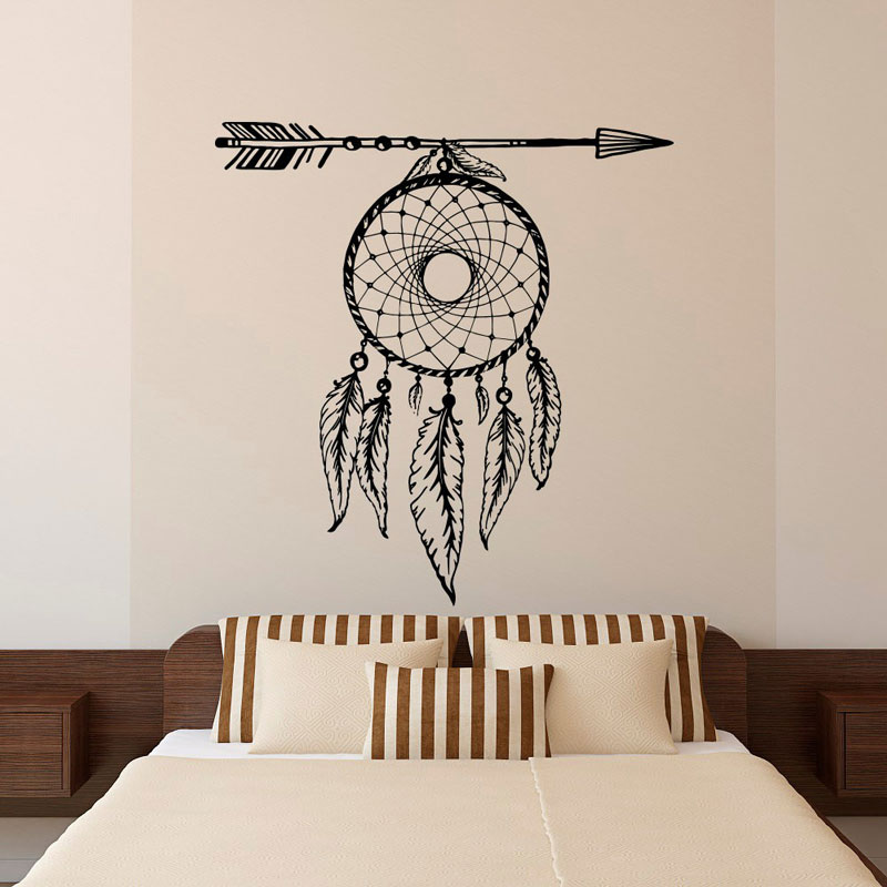 Arrow feathers dream catcher wall stickers vinyl  living room bedroom Bohemian murals ZM10